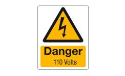 "Rigid PVC Labels 70 x 55mm ""Danger 110 Volts"" Pack Qty 5"