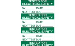 """Self-Adhesive Warning Labels 37 x 15mm """"Tested For Electrical Safety"""""""