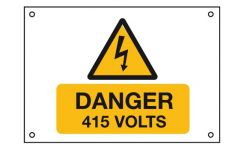 "Rigid PVC Labels 229 x 152mm ""Danger 415 Volts"" Pack Qty 1"