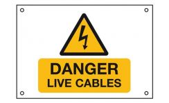 "Rigid PVC Labels 229 x 152mm ""Danger Live Cables"" Pack Qty 1"