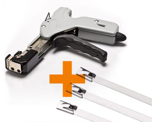 Cable Tie Gun & Stainless Steel Ties Bundle